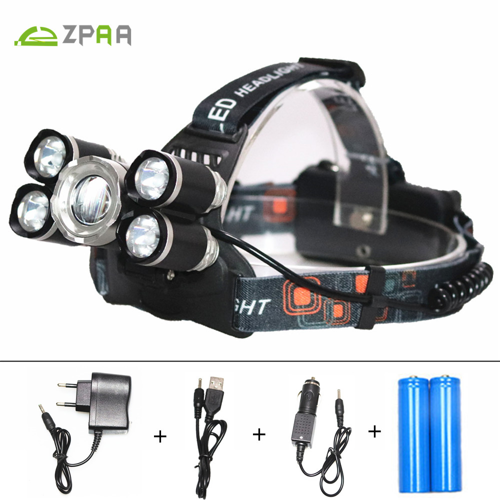 ZPAA 15000 Lumen LED Headlight Headlamp Zoom Torch Head XML-T6 Q5 LED Head Lights Lamp 18650 Rechargeable Waterproof Flashlight