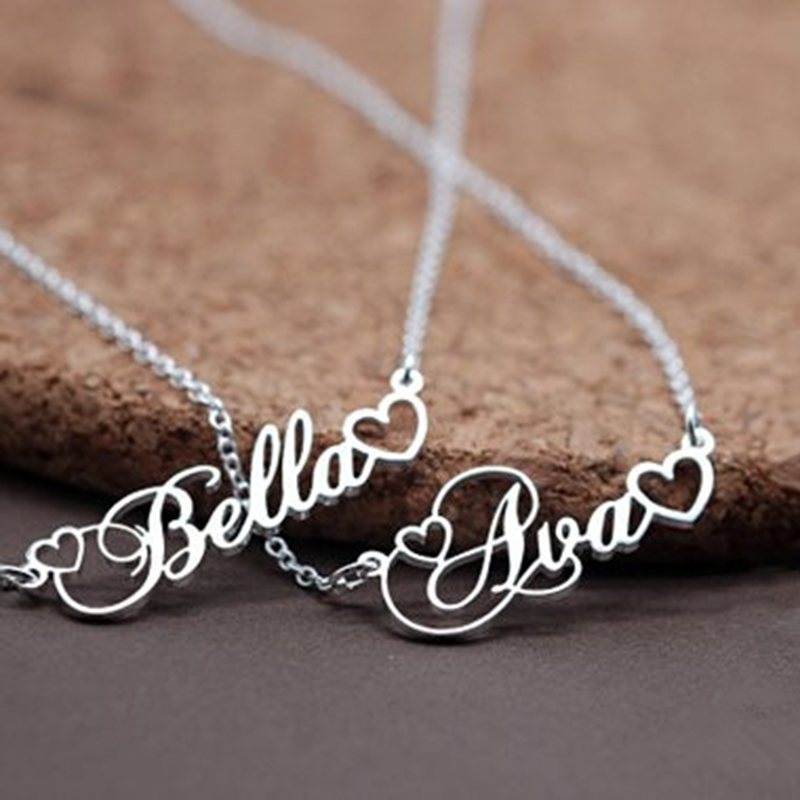 все цены на Handmade Personalized Name Pendant With Tiny Heart Cursive Nameplate Necklace Women Men Customized Jewelry Kids Birthday Gift