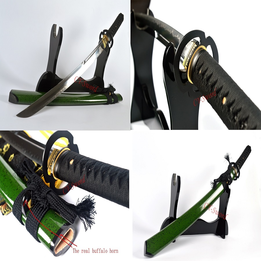 Arcilla templada Katana T-10 acero espada japonesa Wakizashi Hoja - Decoración del hogar