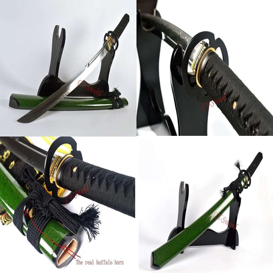 Lerahärdad Katana T-10 stål Japansk Wakizashi Sword UNOKUBI-ZUKURI - Heminredning