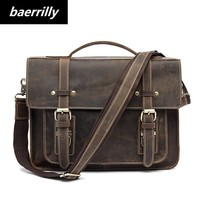 Crazy Horse business Briefcases Genuine Leather Men Bag soft handle zipper solid vintage Laptop Bag for Men mens bags Briefcase