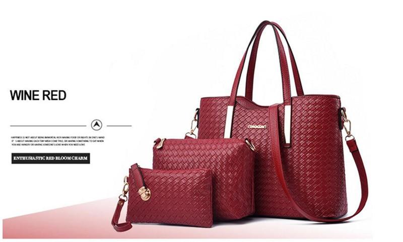 Ensemble de sacs 3 pièces pour femmes, sac à main, bandoulière et pochette, haute qualité