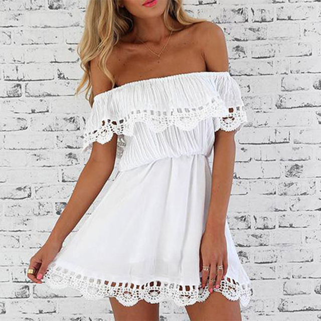 9ac9082d New Fashion Women Elegant Vintage Sweet Lace White Dress Stylish Sexy Slash  Neck Casual Slim Beach Summer Sundress vestidos
