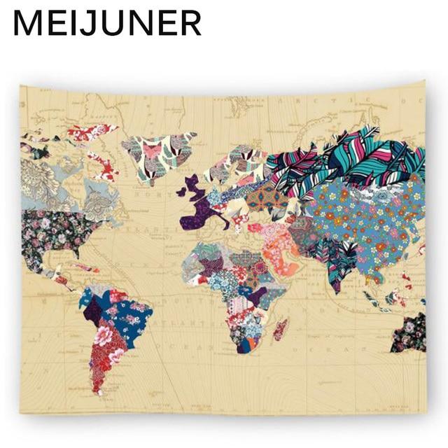Meijuner World Map Tapestry Wall Hanging Sun Star Moon Mandala Boho