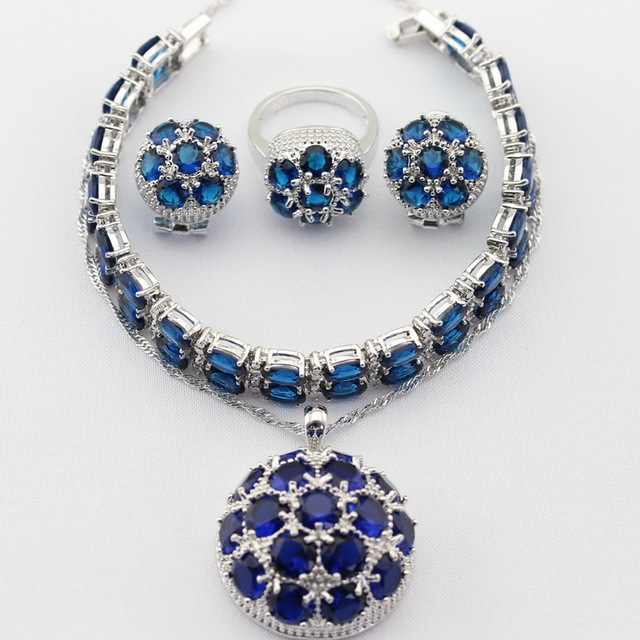 Round Silver Color Jewelry Sets Blue Imitated Sapphire Women Necklace Pendant Drop Earrings Rings Bracelet Christmas Gifts