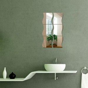 Image 4 - Nieuwe 6 PCS DIY Verwisselbare Huis Kamer Muur Spiegel Sticker Art Vinyl Mural Decor Decal Muur Sticker vinilos decorativos para paredes