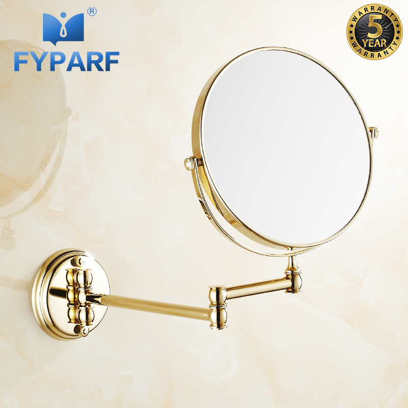 FYPARF Brass Gold Bathroom Mirror 8 inch Round Bathroom Wall Mirror Bath Extendable Mirror 3x/1x Magnifying Mirror for Bathroom