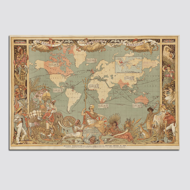 World Map In Renaissance. 1PCS Retro Renaissance World Map Wall Painting vintage Canvas  Dining Bed Room Art Maps bar cafe Drawingroom Home Decor in Calligraphy