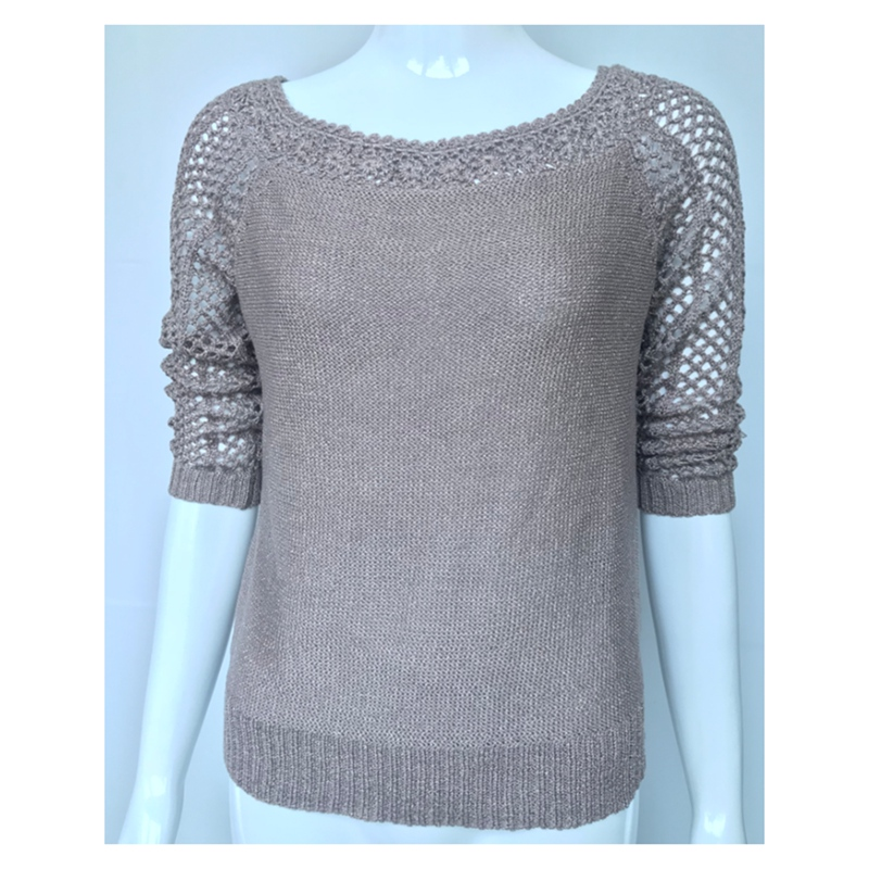 2018 Spring Women Pullover Top 7 Minutes Of Sleeve Of Hollow-Out Sweater Gold Lurex With Crochet Lace Knit Tops Off Shoulder