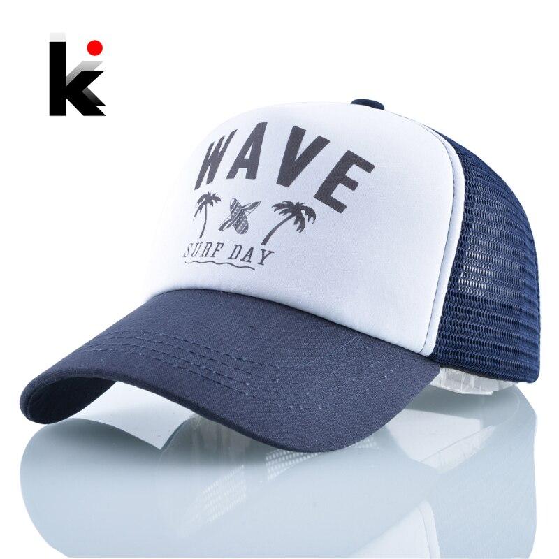Snapback Hat Baseball-Caps Mesh Bones Wave Surf-Day-Lovers Beach Summer Women Fashion