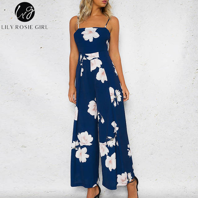 aa1fc40593c0 placeholder Lily Rosie Girl Navy Blue Floral Print Backless Jumpsuits Women  Strap Off Shoulder Summer Beach Sexy