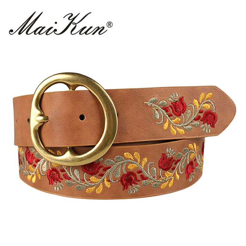 New Flower Leather Belts For Women Belt Obi Style Corset Belts Luxury Female Belt For Party Dress Embroidery Design
