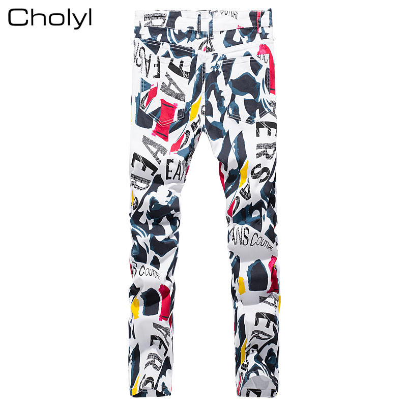 2017 New hip hop Men's printed jeans men slim straight stretch jeans high quality designer pants nightclubs singers