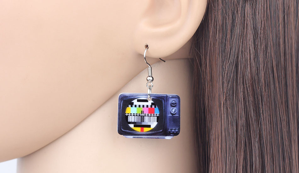 WEVENI Statement Acrylic Classical Television Earrings Drop Dangle Big Long Fashion Jewelry For Women Girls Gift Accessories 4