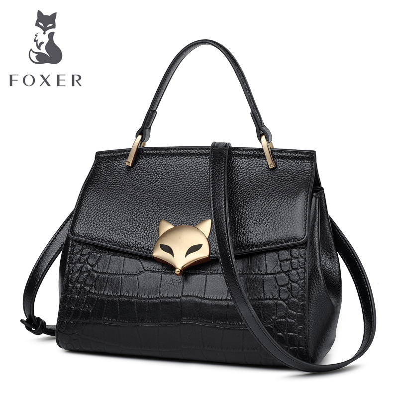 FOXER Brand Women genuine leather handbag Lady Fashion Alligator Shoulder Bags High Quality Crossbody Bag new fashion women brand solid pu leather handbag high quality brown shoulder lady messenger bag vintage crossbody bags