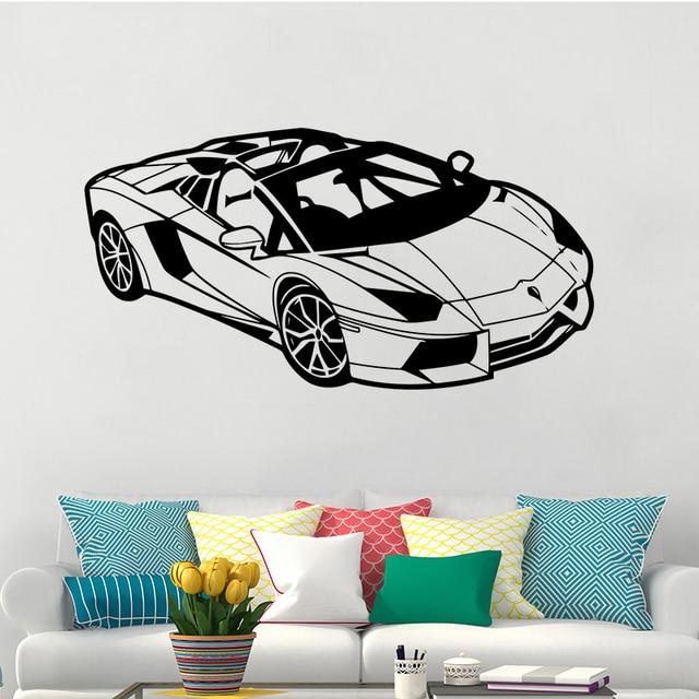 Lamborghini Car Vinyl Wall Sticker For Kids Room Sports Racing