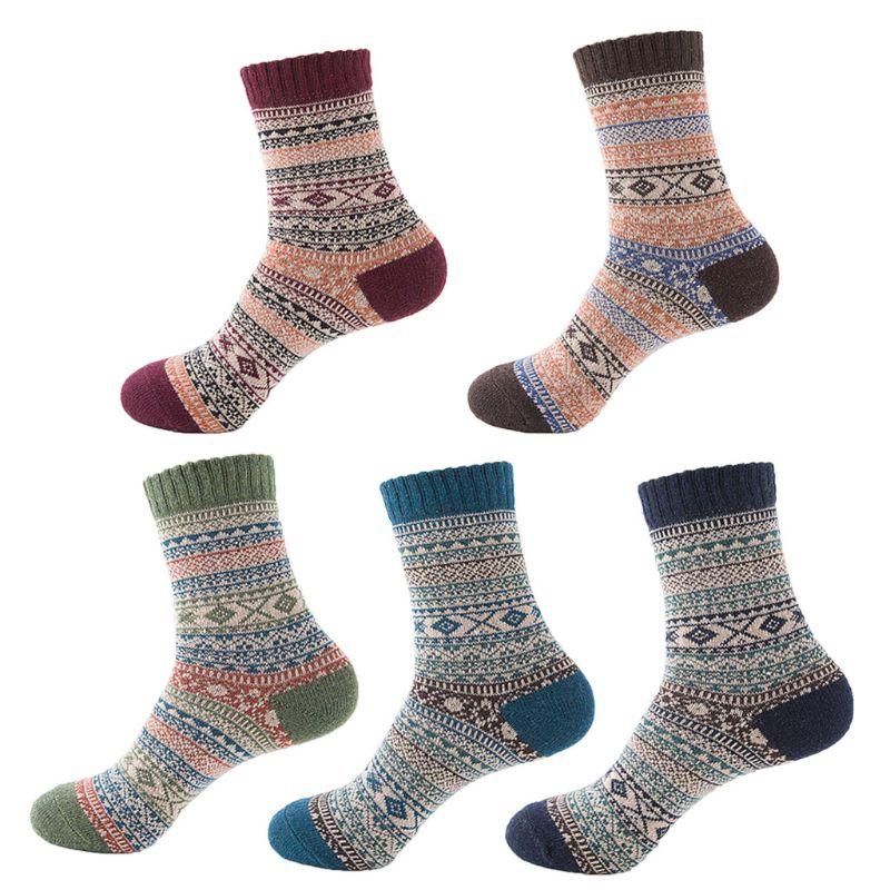 Men Male Thicken Striped Plaid Long Socks Retro Geometric Knit Faux Rabbit Wool