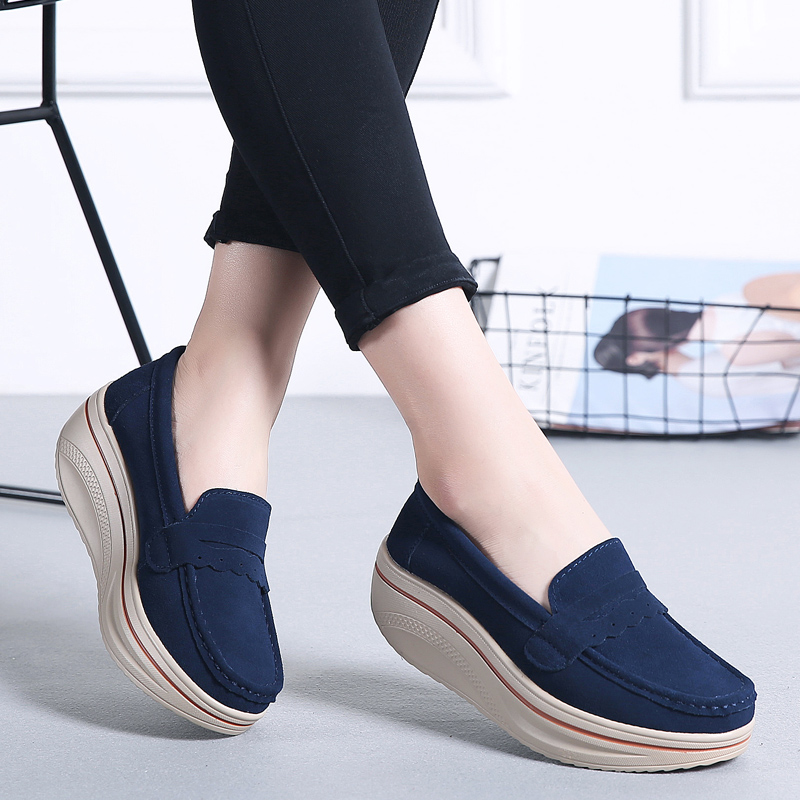 2019 Spring Women Flats Shoes Creepers Platform Shoes Women Sneakers Casual Slip On Flats   Leather     Suede   Ladies Loafers Moccasins