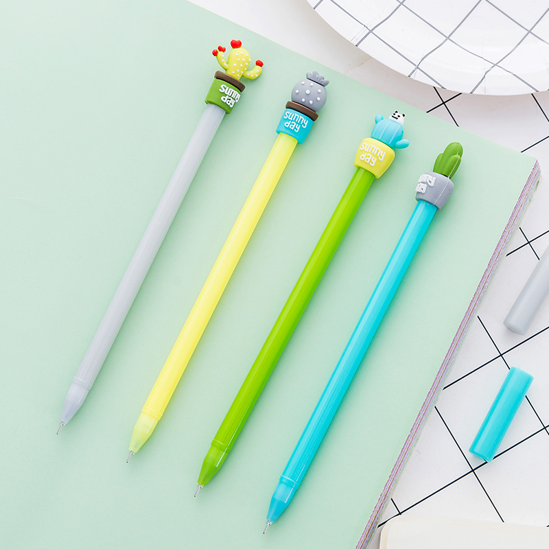 Kawaii Cactus Shape Gel Pen DIY Office Stationery and School Supplies Smooth Writing Black and Blue Ink 0.5mm Pen 1PCS truecolor 20pcs lot 0 35mm black blue ink gel pen refills smooth writing school fashion office stationery for students gifts