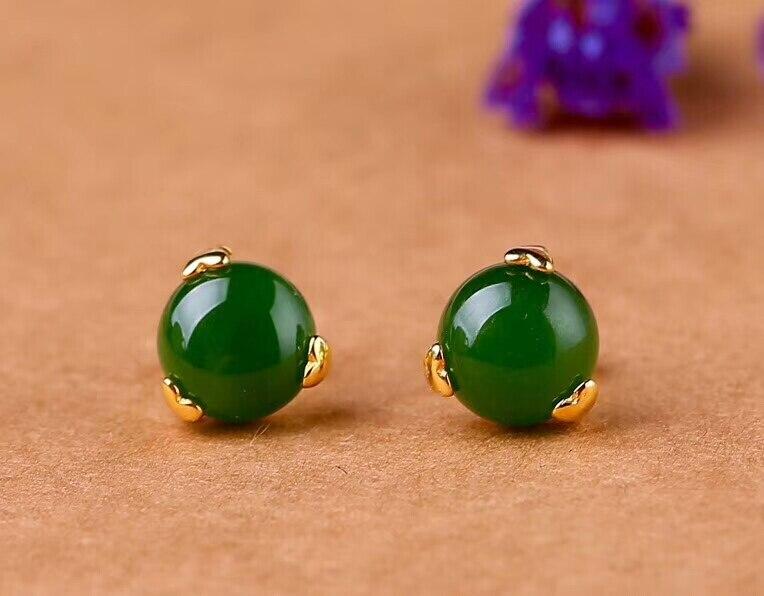 Nouveau 24 K plaqué or avec certificat naturel chinois vert Jade boucles d'oreilles