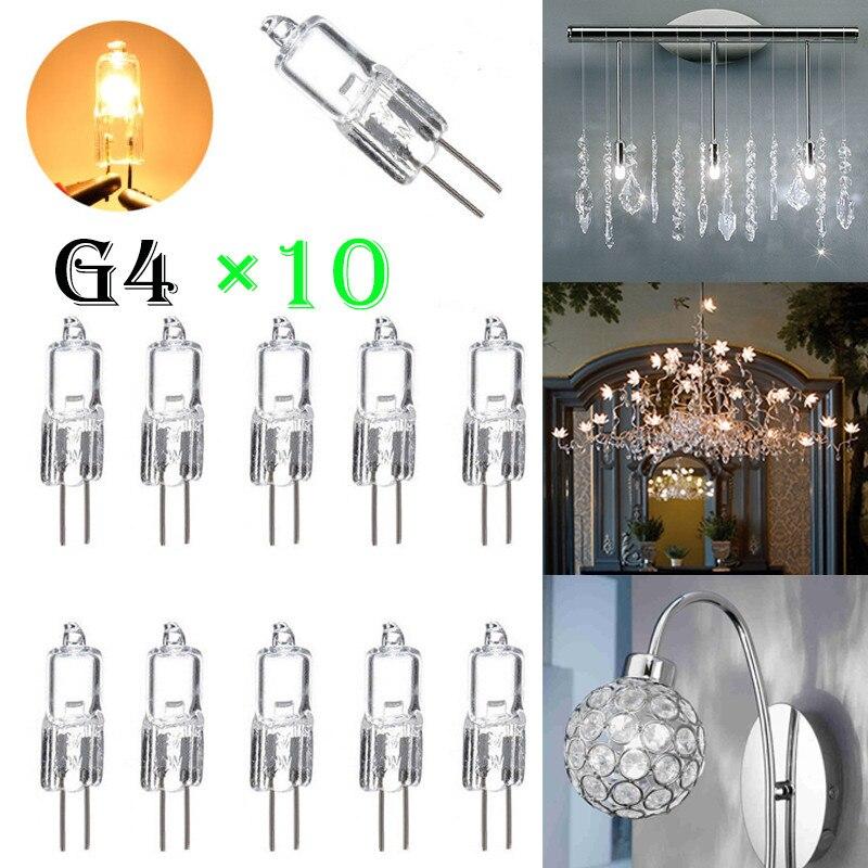Lâmpada de halogêneo g4, lâmpada branca e quente, luz de alta brilho, para decoração, lâmpada de halogênio 12v 5w 10 com 10 peças w 20w 35w