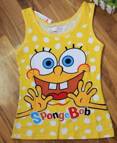Spongebob pajamas,No sleeves Summer knitted pyjamas,Homewear,cartoon Sleep sets,Loungewear,Women's Underwear.CT032