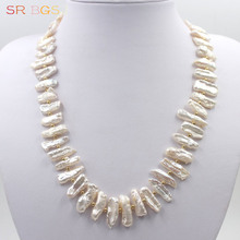 "Free Shipping 6x24mm Pink Biwa Freshwater Pearl Beads Spacer 925 Silver Jewelry Choker Necklace 18""(China)"