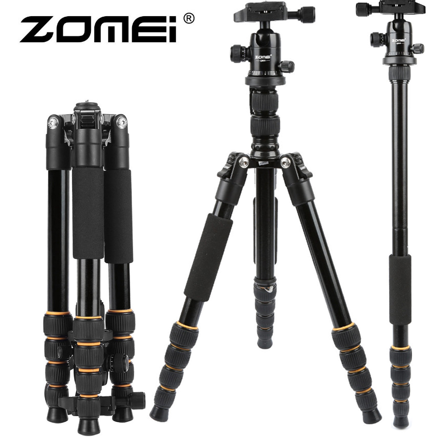 ZOMEI Q666 Portable Professional aluminum Travel Camera Tripod Monopod Stand & Ball Head for digital SLR DSLR Better than Q999 new qzsd q888 professional aluminum tripod monopod with ball head for dslr camera to camera camera stand better than q666