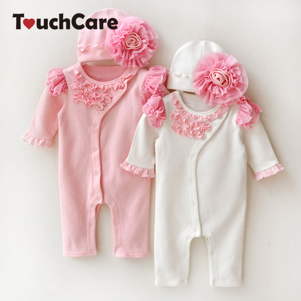 Newborn Cute Toddler Floral Baby Girl Rompers Infant Cotton Long Sleeve Kids Jumpsuit Overall Romper Hat Children Clothes Sets sr118 baby rompers 2016 spring newborn cotton pajamas clothes bebe long sleeve hooded romper infant overall boys girls jumpsuit