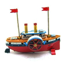 Vintage Wind Up Tin Toys Ship Model Child Clockwork Spring Locomotive Classic Toys Retro Reminiscence Kids Gift Pendant Collect