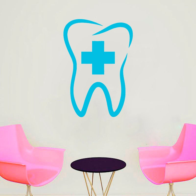Dental Clinic Tooth Wall sticker removeable vinyl Teeth clinic sign waterproof Decor Handmade glass wall decal G584