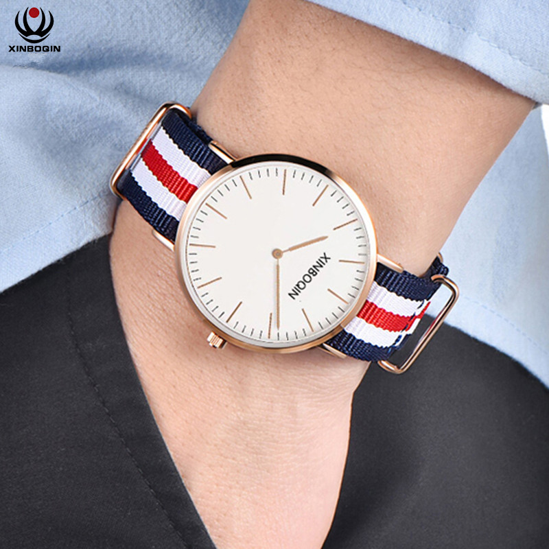все цены на XINBOQIN Nylon Fabric Quartz Watches Men Women Fashion Waterproof Watch Sport Thin Students Canvas Unisex Wristwatches 3059 онлайн