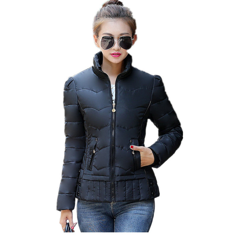 Winter Jacket Women 2016Fashion Ladies Parkas Slim Hooded Padded Coat Stand Collar Short Paragraph Winter Coat