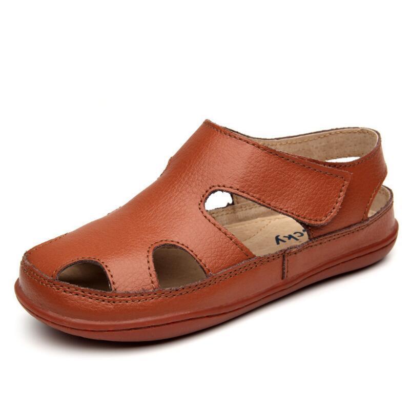 2020 Summer Children\'S Sandals Boy Girls Fashion Genuine Leather Kids Beach Sandals Non-Slip Casual Sport Sandals Comfortable