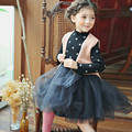 2017 Nova Outono Inverno Dos Miúdos Meninas Vestidos Polka Dot Bow-Knot Manga Comprida Roupas Vestido Da Menina de Partido Dos Miúdos Da Princesa roupas CE044