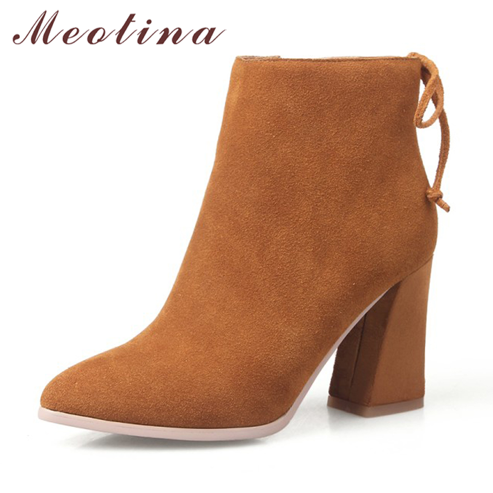 Meotina Genuine Leather Women Boots Chunky High Heel Boots Pointed Toe Ankle Boots Bow Suede Leather Shoes Autumn botas mujer chunky genuine leather shoes round toe british fall booties autumn women ankle boots 2016 high heel slip on suede chelsea black