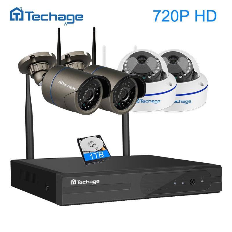 Techage Plug And Play 720P Wireless CCTV System Kit Outdoor Indoor Dome IP Wifi Camera IR