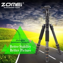 ZOMEI Carbon Fiber Q666C Tripod Heavy Duty Lightweight Travel with 360 Degree Ball Head Compact for Canon  Cameras and DSLR