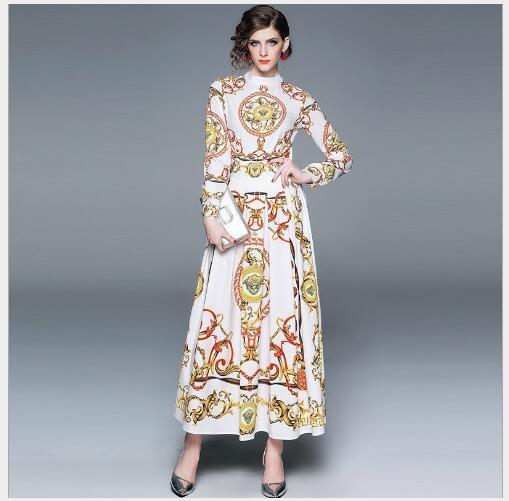 ligne White Nouvelle Manteaux Longue Section O Longues Casual Femme Femmes 2019 Slim Fit Manches Robe A Mode cou Impression Printemps E29IHD