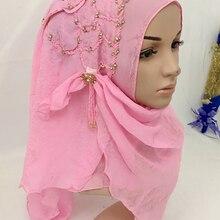 Ручной работы бисером шарф хиджаб секретный мусульманский удобный мгновенный шарф хиджаб