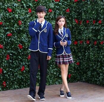 400b2b14d Uniforme Escolar de Cosplay japonés para niños y niñas trajes de  estudiantes de la Universidad británica coreana camisa de mujer + chaqueta  + ropa de falda ...