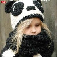 C Z Handmade Knitted Caps Cute Panda With Ear Child Cloak Bomber Hats Winter Fancy Earflap