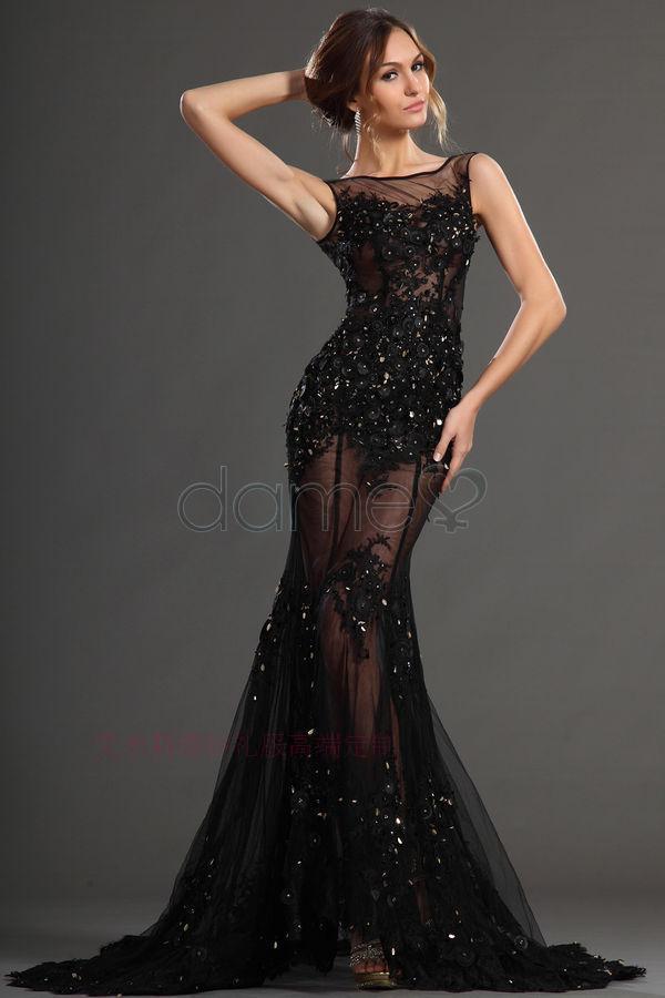 Мода пром платья бисероплетение черный тюль кружева аппликации Вечерние платья vestido де феста новый hot sexy длинное Вечернее Платье 2015