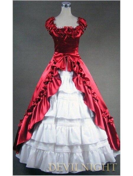 Классический Красный и Белый Короткие Рукава Лук Готический Викторианской Платье
