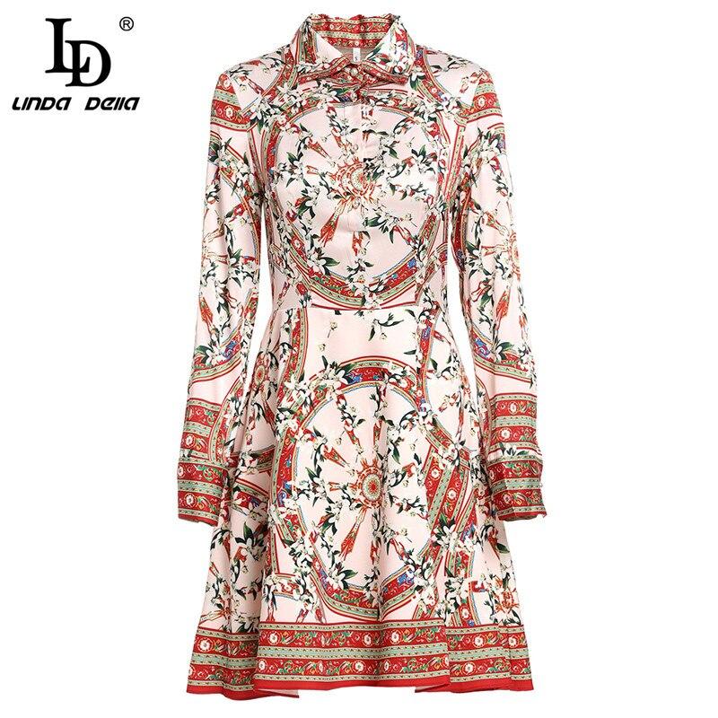 LD LINDA DELLA Spring Fashion Runway Dress Women Long Sleeve Vintage Elegant Floral Print A Line