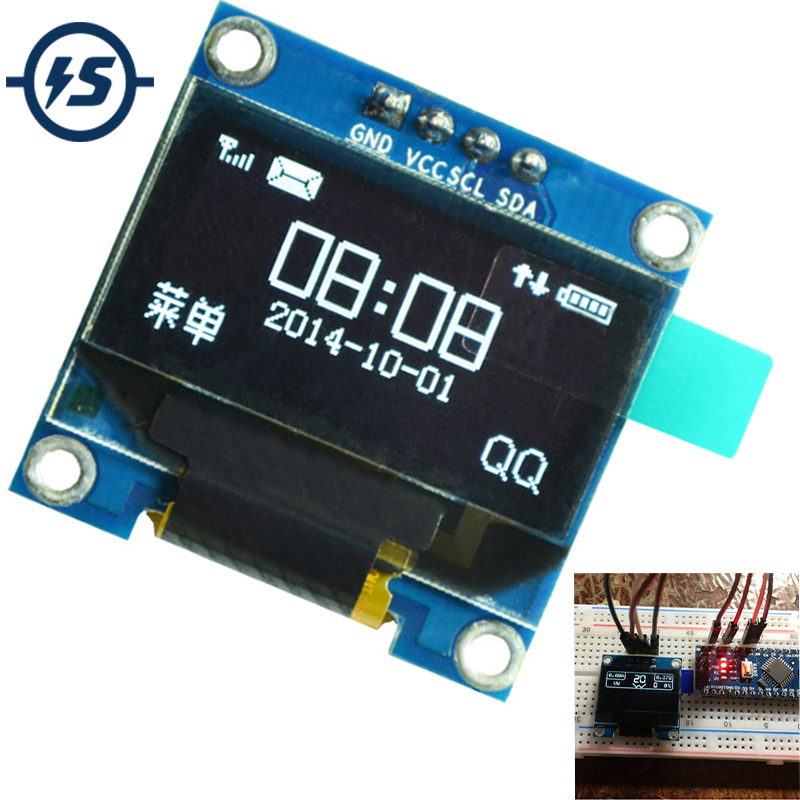 For Arduino <font><b>OLED</b></font> <font><b>Display</b></font> Module 0.96 inch IIC Serial White 128X64 <font><b>I2C</b></font> SSD1306 LCD Screen Board GND VCC SCL SDA 0.96