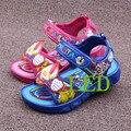Hot summer 2016 LED niños zapatos azul / verde / rojo flasher botas cabrito niñas y niños sandalias niños zapatos de las niñas