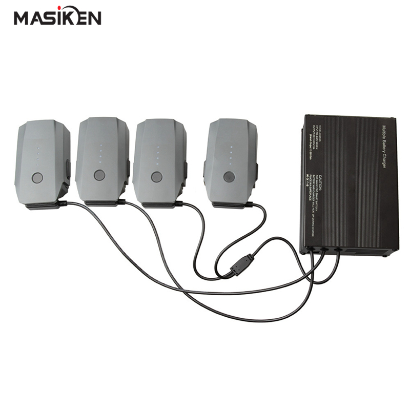 MASiKEN 6 in 1 Charger Port for DJI Mavic Pro Drone Quadcopter Intelligent Battery AC Fast 4 Batteries Cable Ports and 2 USB 3pcs 3 7v 900mah li po battery green european regulation charger and cable for remote control xs809 xs809hc xs809hw quadcopter