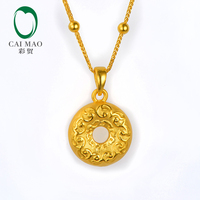 CAIMAO 24K Pure Gold Two Side Engrave Charm Pendant Classic Lover Gift Real 999 3d Hard Gold Process Fine Jewelry