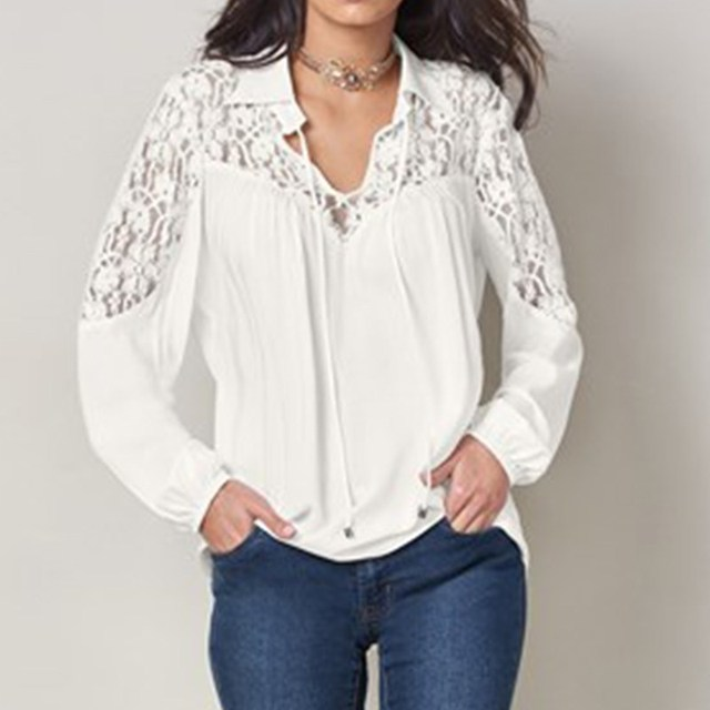 40ada446c04dcb 2018 ZANZEA Women Spring V Neck Long Sleeve Lapel Lace Patchwork Shirt  Loose Lace Up Solid Work Top Hollow Out Blouse Plus Size